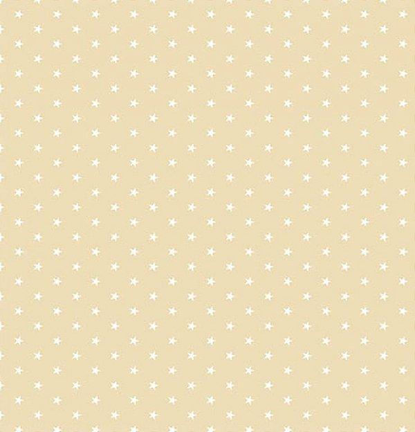 Tecido Tricoline  Estampa Mini Estrela Branca - Fundo Caqui - Preço de 50 cm X 150 cm