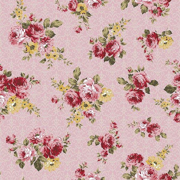 Tecido Tricoline Floral Arabesque - Fundo Rosa - Coleção Exuberance - Preço de 50 cm x 150 cm