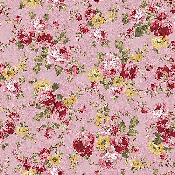 Tecido Tricoline Grand Floral - Fundo Rosa - Coleção Exuberance - Preço de 50 cm x 150 cm