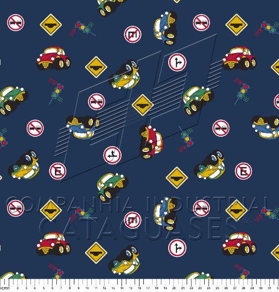 Tecido Estampa Trânsito, Carros e Placas - Fundo Azul Marinho - Preço de 50 cm x 150 cm