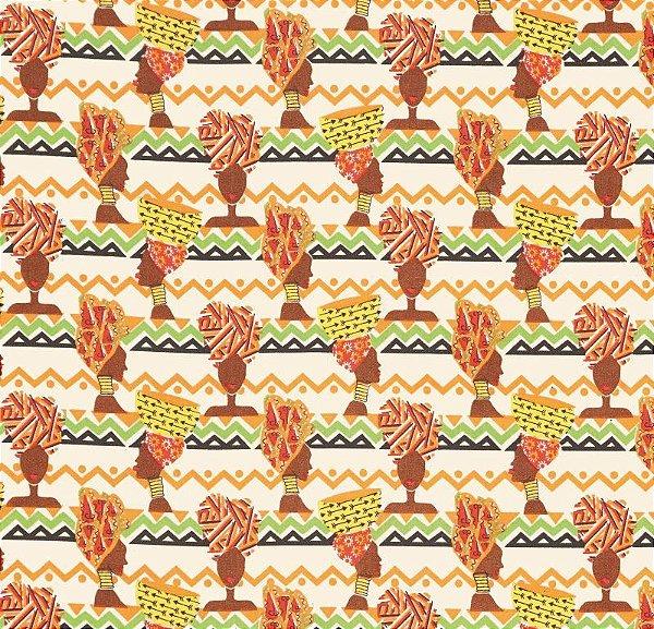 Tecido Tricoline África Tribal  - Preço de 50 cm X 150 cm