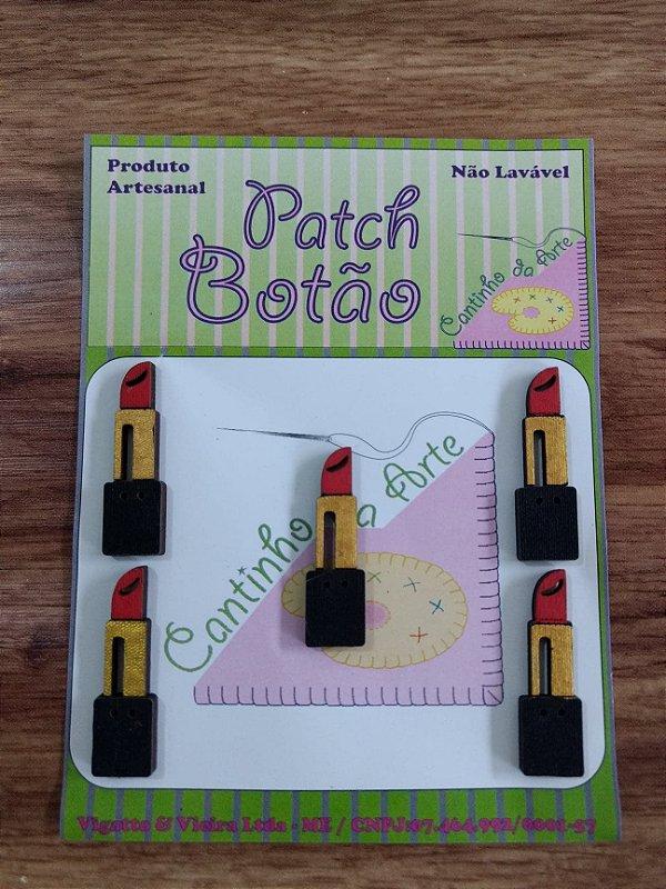 Patch Botão MDF (Não lavável) - Batom - (3,5 cm) - Pacote com 5 unidades