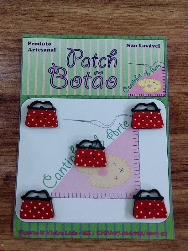 Patch Botão MDF (Não lavável) - Bolsa - (1,5 cm) - Pacote com 5 unidades