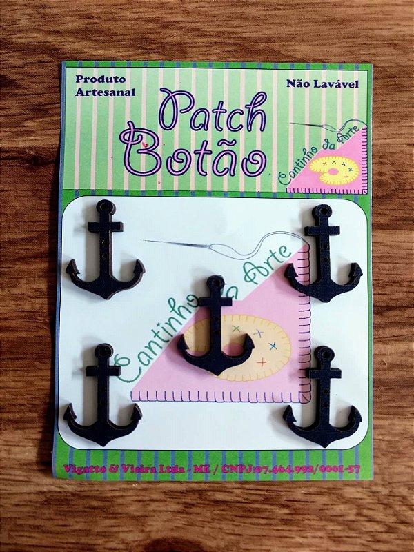 Patch Botão MDF (Não lavável) - Âncora - (3 cm) - Pacote com 5 unidades