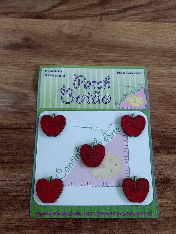 Patch Botão MDF (Não lavável) - Maçã - (2 cm) - Pacote com 5 unidades