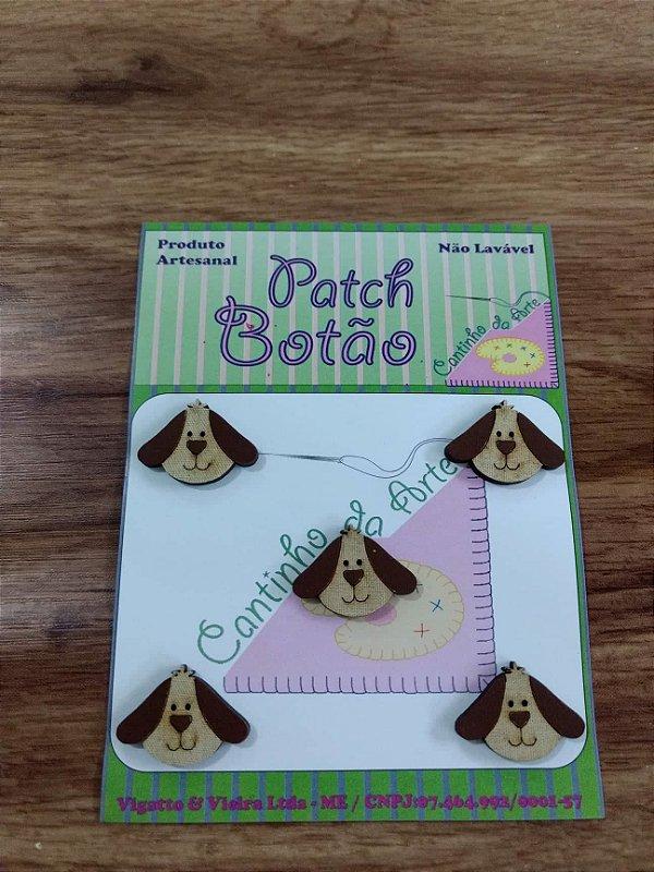 Patch Botão MDF (Não lavável) - Cachorro - (1,5 cm) - Pacote com 5 unidades