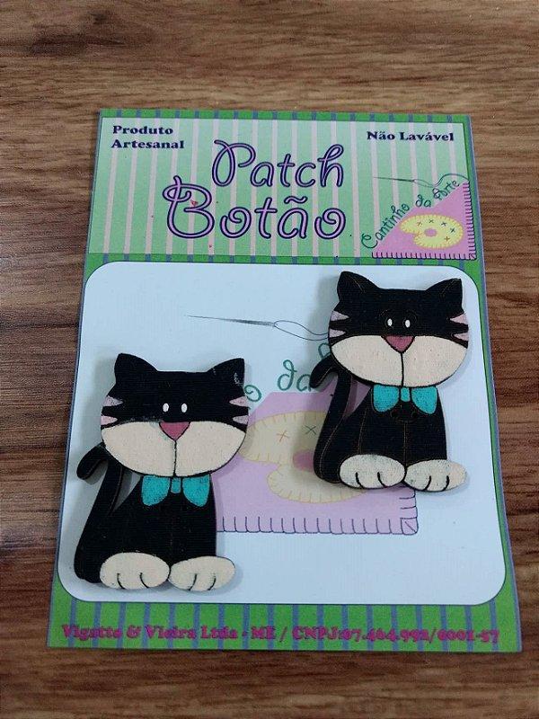 Patch Botão MDF (Não lavável) - Gato - (4,5 cm) - Pacote com 2 unidades