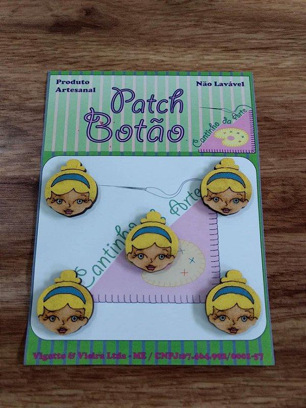 Patch Botão MDF (Não lavável) - Princesa Cinderela - (2,5 cm) - Pacote com 5 unidades