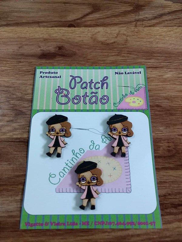 Patch Botão MDF (Não lavável) - Boneca LOL - Posh - (3 cm) - Pacote com 3 unidades