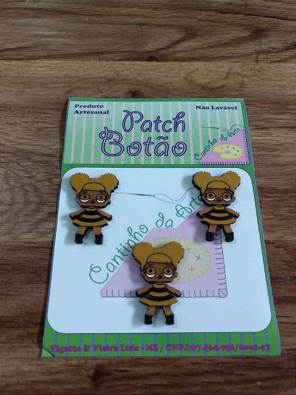Patch Botão MDF (Não lavável) - Boneca LOL - Queen Bee - (3 cm) - Pacote com 3 unidades