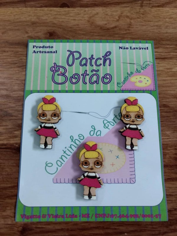 Patch Botão MDF (Não lavável) - Boneca LOL - Sis Swing - (3 cm) - Pacote com 3 unidades