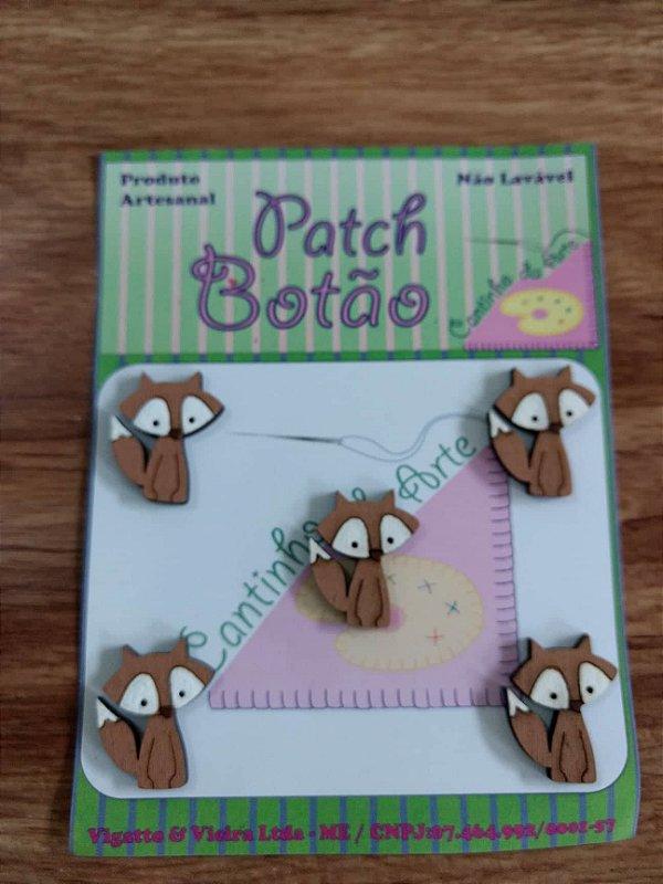 Patch Botão MDF (Não lavável) - Raposa - (2 cm) - Pacote com 5 unidades