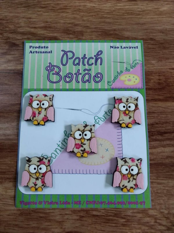 Patch Botão MDF (Não lavável) - Coruja Rosa Pequena - (2,5 cm) - Pacote com 5 unidades