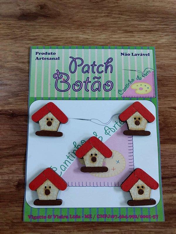 Patch Botão MDF (Não lavável) - Casinha de Passarinho - (2,5 cm) - Pacote com 5 unidades