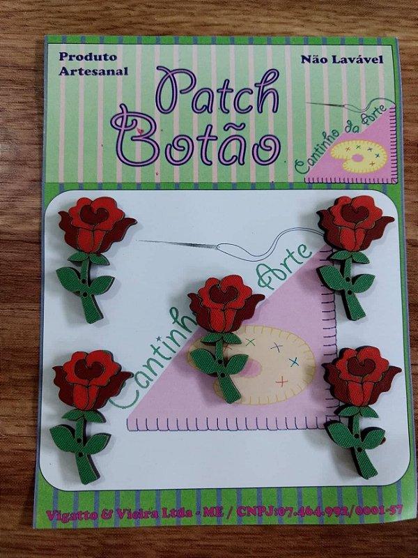 Patch Botão MDF (Não lavável) - Rosa - (3 cm) - Pacote com 5 unidades