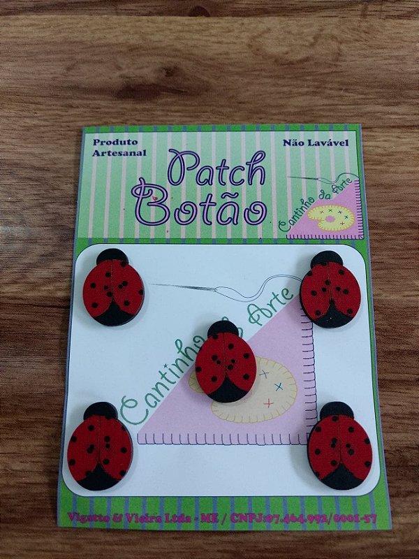 Patch Botão MDF (Não lavável) - Joaninha - (2,5 cm) - Pacote com 5 unidades