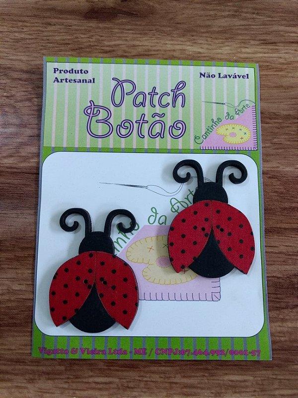 Patch Botão MDF (Não lavável) - Joaninha Grande - (4 cm) - Pacote com 2 unidades