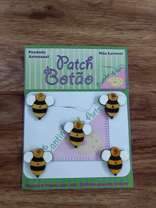 Patch Botão MDF (Não lavável) - Abelha - (2 cm) - Pacote com 5 unidades