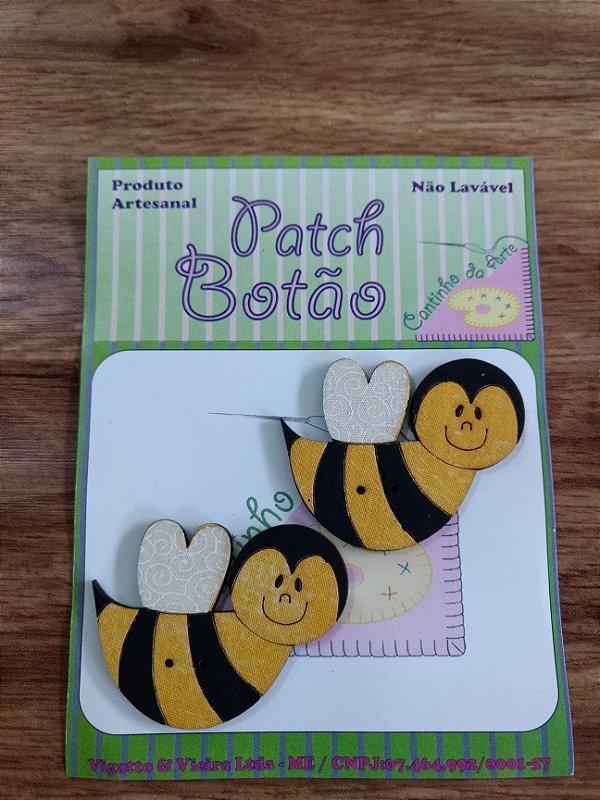 Patch Botão MDF (Não lavável) - Abelha Grande - (5 cm) - Pacote com 2 unidades