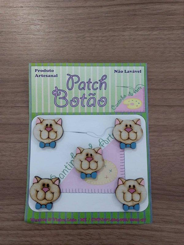 Patch Botão MDF (Não lavável) - Gato - (2 cm) - Pacote com 5 unidades