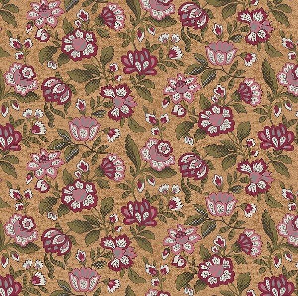 Tecido Tricoline Floral Brigitte Bardot - Fundo Mostarda - Coleção Estrelas do Cinema  - 50 cm x 150 cm