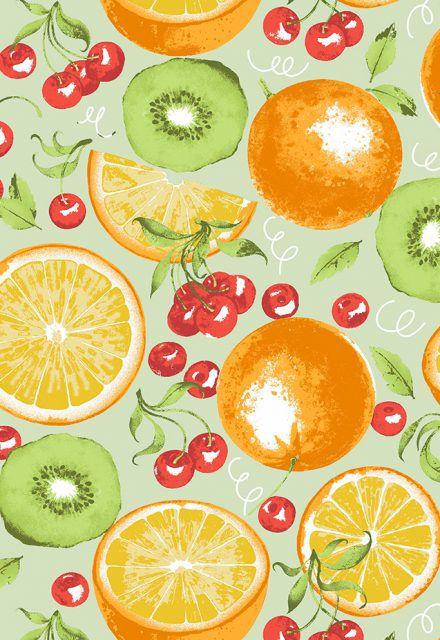 Tecido Tricoline com Estampa de Frutas: Laranja, Kiwi e Cereja - Preço de 50 cm X 150 cm