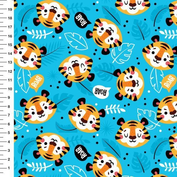 Tecido Digital - Tigres - Fundo Azul - Preço de 50cm x 150cm