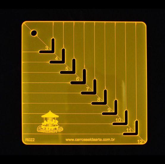 Régua de Gabarito para Caixa de Leite - De 3 cm a 12 cm
