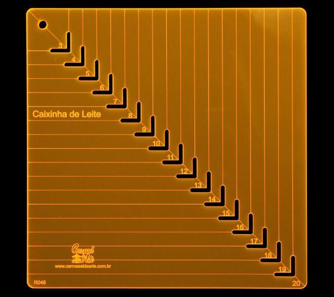 Régua de Gabarito para Caixa de Leite - De 3 cm a 20 cm