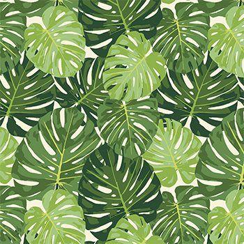 Tecido Tricoline Folhagens - Fundo Creme - Coleção Paraíso Tropical - Preço de 50 cm x 150 cm