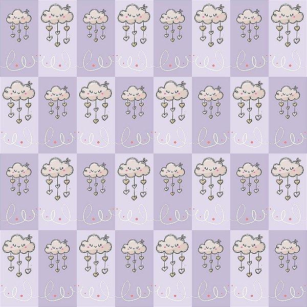 Tecido Tricoline Nuvens Patch - Fundo Lilás - Coleção Animalistic - Preço de 50 cm x 150cm