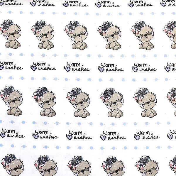 Tecido Tricoline Ursinhas com Rosas - Fundo Branco - Coleção Animalistic - Preço de 50 cm x 150cm