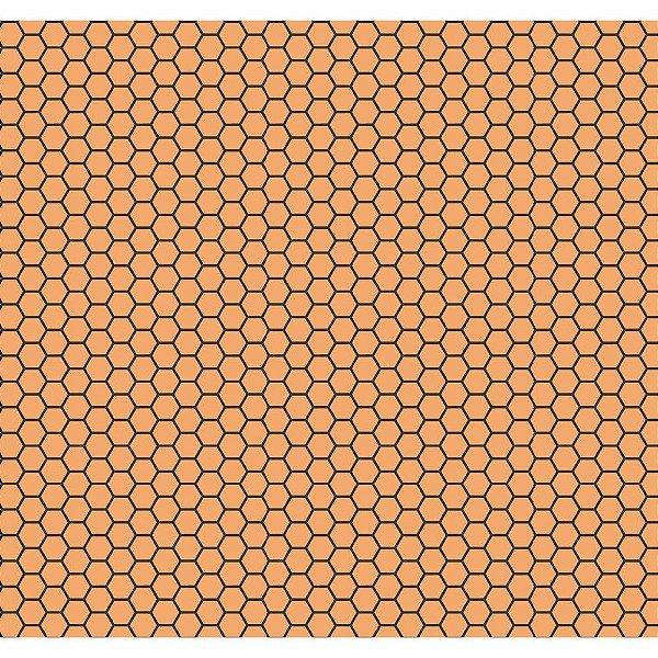 Tecido Tricoline Colmeia de Abelha - Fundo Pêssego - Coleção Bee Buzz - Preço de 50 cm x 150 cm