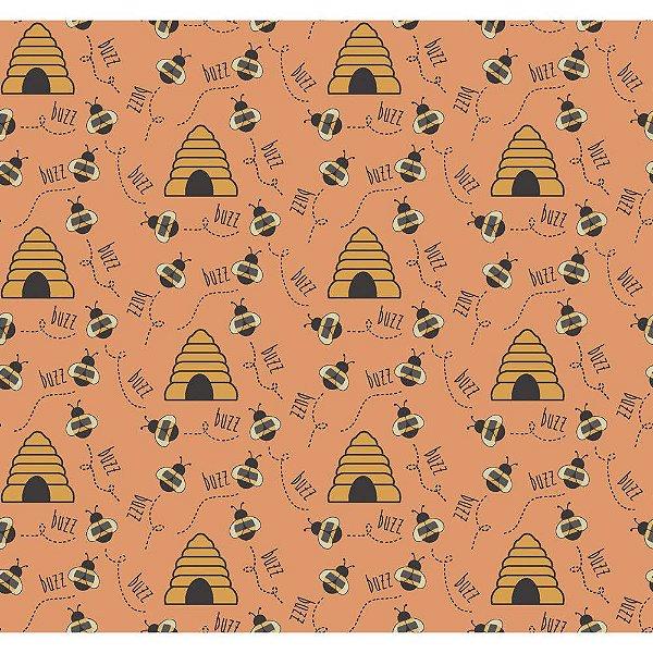 Tecido Tricoline Abelha e Colmeia - Fundo Pêssego - Coleção Bee Buzz - Preço de 50 cm x 150 cm