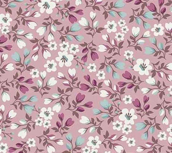 Tecido Tricoline Mini Floral - Fundo Rosê - Preço de 50 cm X 150cm