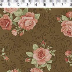 Tecido Tricoline Estampa Rosas com Arabesco - Fundo Marrom - Coleção Millyta - Four Seasons - Preço de 50 cm X 150 cm
