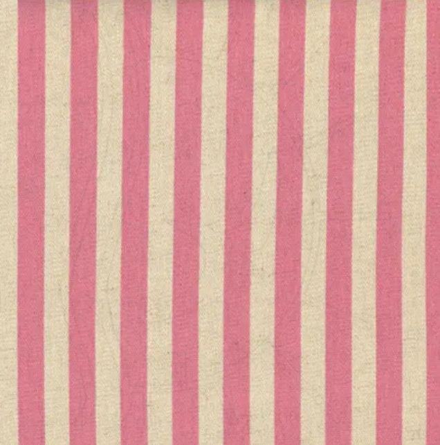 Tecido Blend de Linho para Patchwork - Listrado Coeurs Rosê - Coleção Le Petit Atelier - Preço de 50 cm X 140 cm