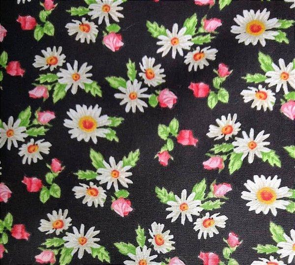 Tecido Tricoline Flowers Botões de Rosas - Fundo Preto - Coleção Mirella - Preço de 50 cm X 150 cm