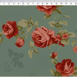 Tecido Tricoline Rosas Vinho - Fundo Verde com Textura - Coleção Millyta - La Vie En  Rose - Preço de 50 cm X 150 cm