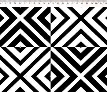 Tecido Tricoline Patch Chevron - Preto e Branco - Coleção Monochrome - Preço de 50 cm X 150 cm