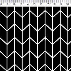 Tecido Tricoline Chevron Preto - Preto e Branco - Coleção Monochrome - Preço de 50 cm X 150 cm