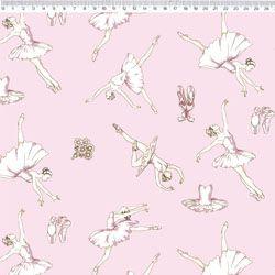 Tecido Tricoline Bailarina - Fundo Rosa - Coleção Bailarina - Preço de 50 cm X 150 cm