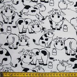 Tecido Tricoline Vaca - Fundo Branco - Preço de 50 cm X 150 cm