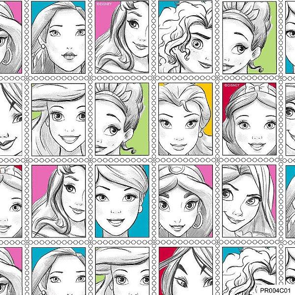 Tecido Tricoline Princesas - Coleção Disney - Preço de 50 cm x 150 cm