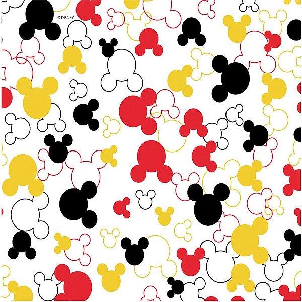 Tecido Tricoline Silhueta do Mickey Mouse - Coleção Disney - Fundo Preto - Preço de 50 cm x 150 cm