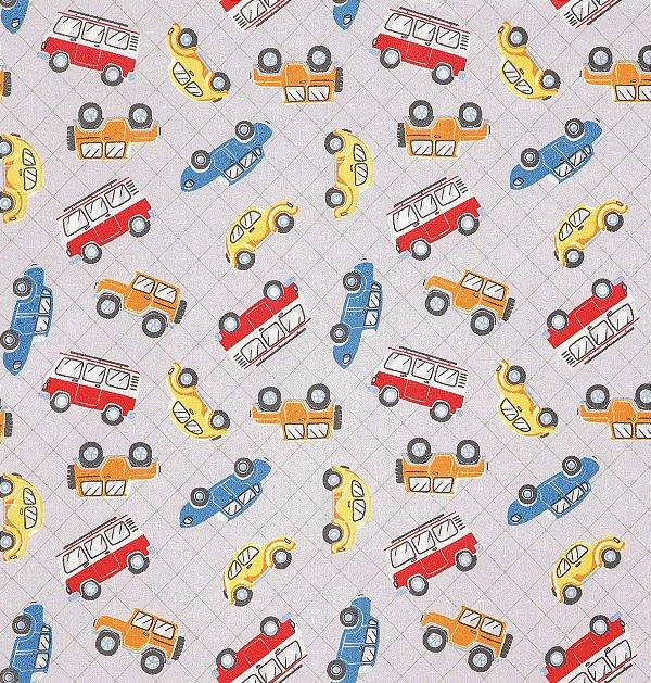 Tecido Tricoline com Estampa de Carrinhos, Ônibus, Fusca e Jipe - Preço de 50 cm X 150 cm