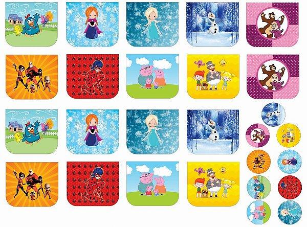 Tecido Necessaire e Chaveiros Personagens 6: Galinha Pintadinha, Ana, Elsa, Olaf, Masha e o Urso, Incríveis, Lady Bug, Peppa e Mundo Bita - 100% poliéster - Preço de 70cm x 50cm