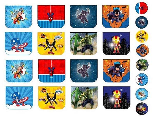 Tecido Necessaire e Chaveiros Personagens 1: Thor, Homem Aranha, Pantera Negra, Batman, Capitão América, Wolverine, Hulk e Homem de Ferro - 100% poliéster - Preço de 70cm x 50cm