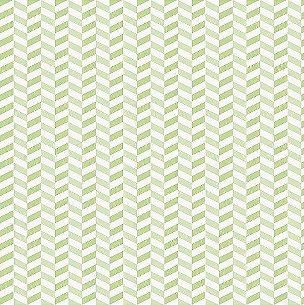 Tecido Tricoline de Zig Zag Verde - Coleção Pássaros e Flores - Preço de 50 cm x 140 cm