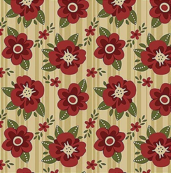 Tecido Tricoline Floral Utah - Fundo Bege - Coleção Utah - Preço de 50 cm x 140 cm